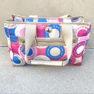 Coach Daisy Scarf Print Satchel handbag purse bag